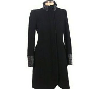 Flavio Castellani black Virgin Wool Long Pea Coat